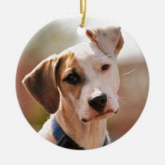 Perrito del beagle adorno navideño redondo de cerámica