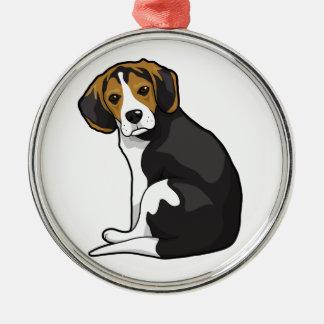Perrito del beagle adorno navideño redondo de metal
