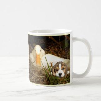 Perrito del beagle con la taza del pato