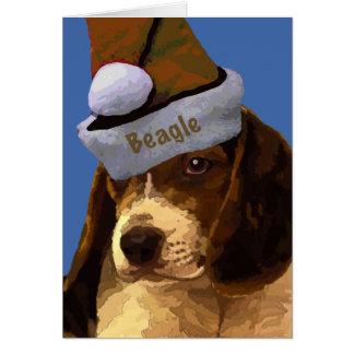 Perrito del beagle del navidad tarjeta