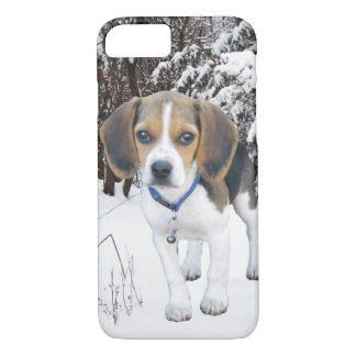 Perrito del beagle en la nieve funda iPhone 7