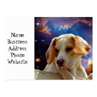 perrito del beagle en la pared que mira el tarjetas de visita grandes