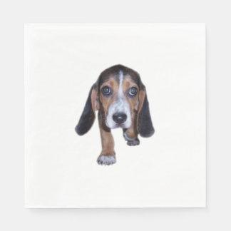 Perrito del beagle que camina - vista delantera servilleta de papel
