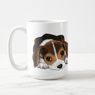 Perrito del beagle taza básica blanca