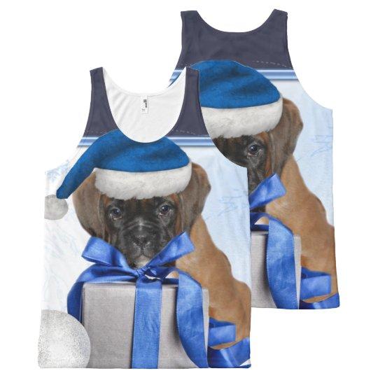 Perrito del boxeador del navidad por todo las camiseta de tirantes con estampado integral
