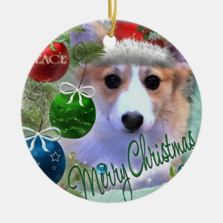 Perrito del Corgi de las Felices Navidad Adorno De Cerámica