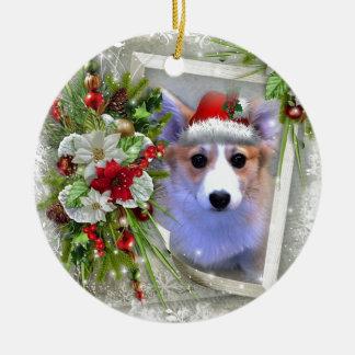 Perrito del Corgi del navidad en el marco blanco Adorno De Cerámica