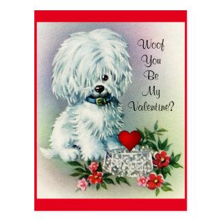 Perrito del el día de San Valentín del vintage Postal