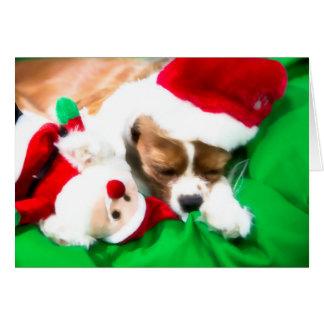 Perrito el dormir del navidad con la tarjeta del