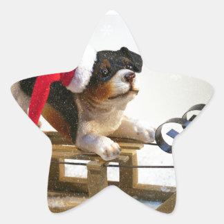 Perrito en un trineo pegatina en forma de estrella