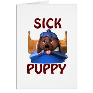 Perrito enfermo tarjeta de felicitación
