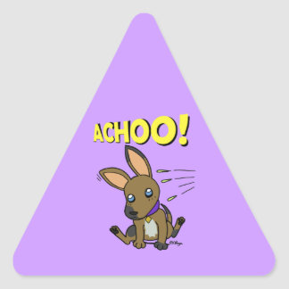 Perrito espigado grande pegatina triangular