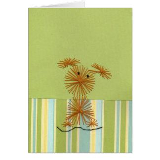 Perrito hecho a mano del bordado del diseño tarjeta de felicitación