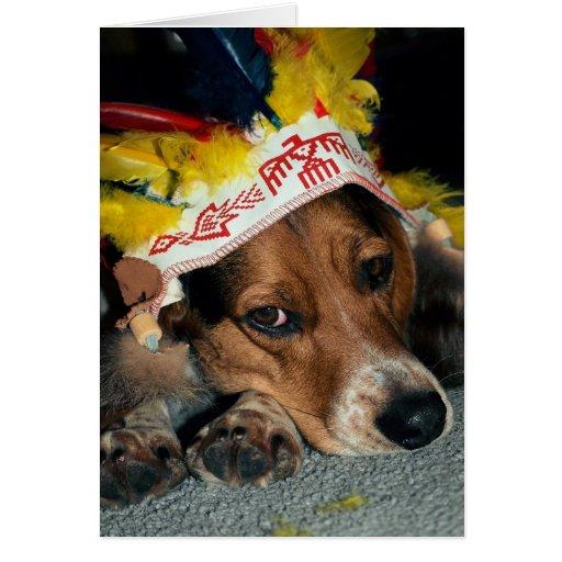 Perrito indio - tarjeta del beagle del saludo de l