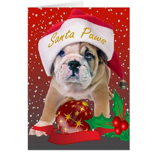 Perrito inglés del dogo en el gorra de Santa Tarjeta De Felicitación