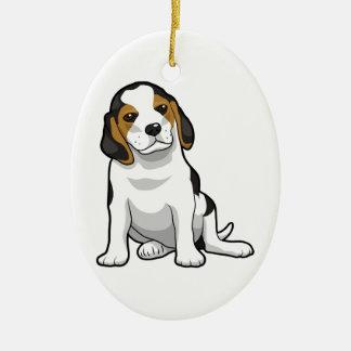 Perrito joven del beagle adorno navideño ovalado de cerámica