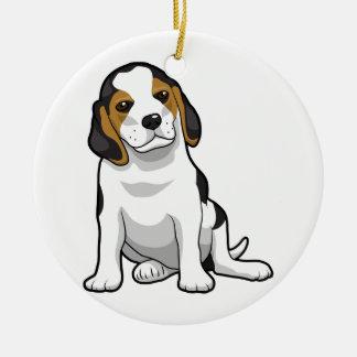 Perrito joven del beagle adorno navideño redondo de cerámica