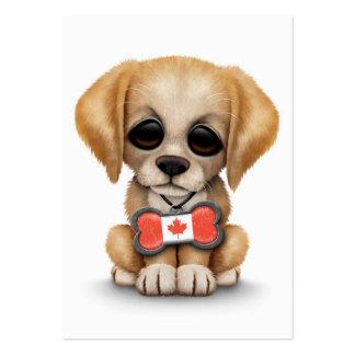 Perrito lindo con la etiqueta canadiense del hueso tarjetas de visita grandes