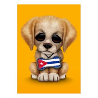 Perrito lindo con la etiqueta cubana del mascota d tarjetas de visita grandes
