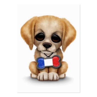 Perrito lindo con la etiqueta francesa del mascota tarjetas de visita grandes