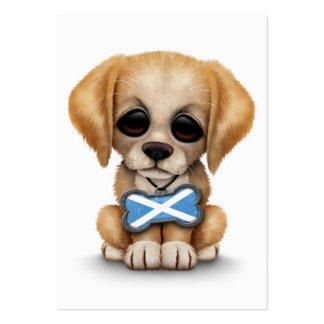 Perrito lindo con la placa de identificación escoc tarjetas de visita grandes