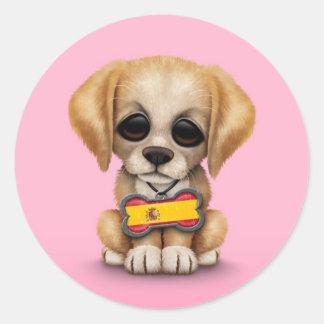 Perrito lindo con la placa de identificación españ etiquetas redondas