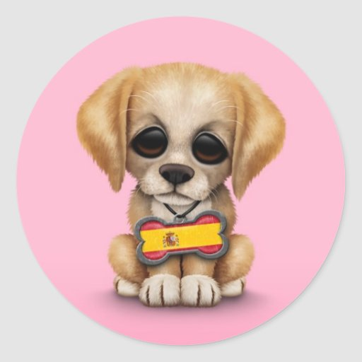 Perrito lindo con la placa de identificación etiquetas redondas
