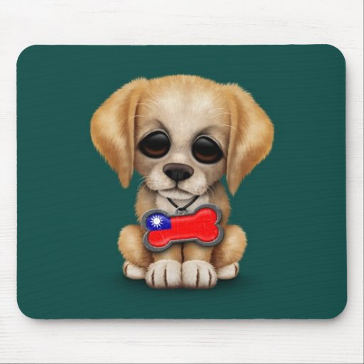 Perrito lindo con la placa de identificación taiwa tapete de ratones