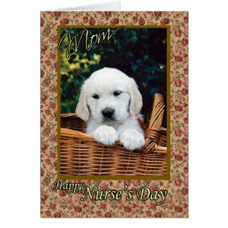 Perrito lindo del día de la enfermera de la mamá tarjeta de felicitación