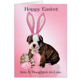 Perrito lindo del dogo de Pascua del hijo y de la Tarjeta De Felicitación