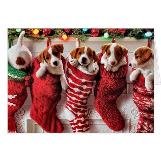 Perrito-Llenado almacenando la tarjeta de Navidad