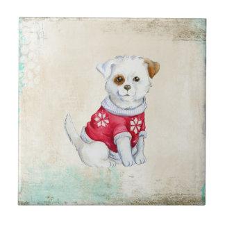 Perrito nacional adorable lindo azulejo cuadrado pequeño