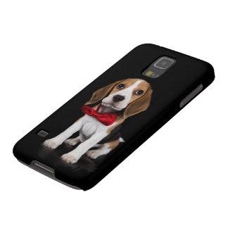 Perrito negro del beagle de la caja de la galaxia funda para galaxy s5
