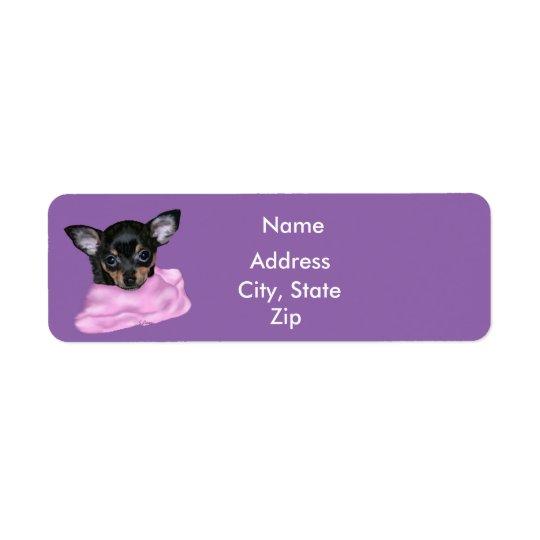 Perrito negro y del moreno de la chihuahua etiquetas de remite