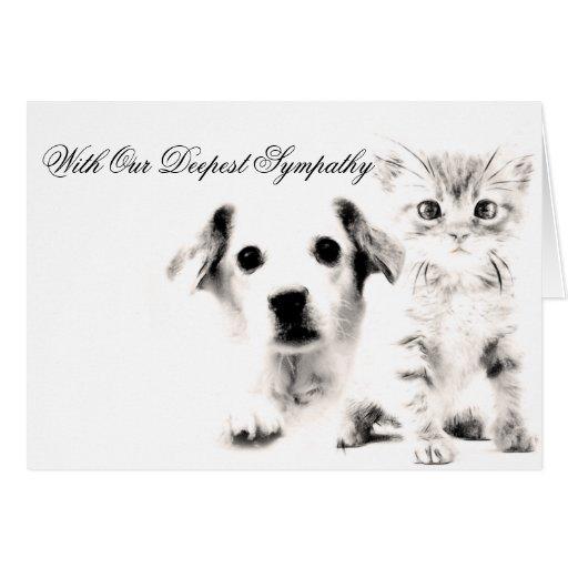 Perrito y gatito veterinarios de la tarjeta de con