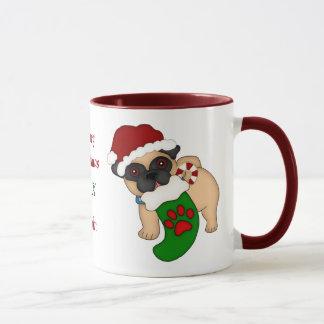 Perrito y media del barro amasado del navidad taza