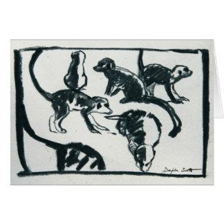 Perritos de Meerkat - tarjeta del arte