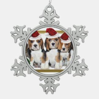 Perritos del beagle del navidad adorno de peltre en forma de copo de nieve