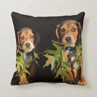Perritos juguetones de los hermanos del beagle cojín decorativo