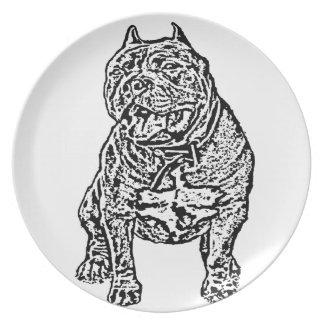 Perro americano del matón platos