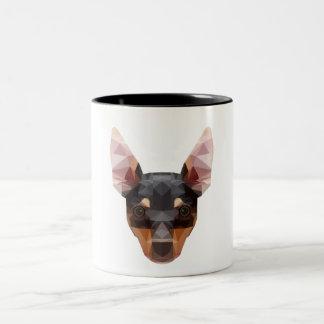 Perro animal geométrico del Pinscher de la taza
