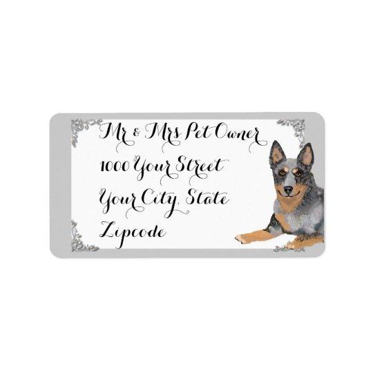 Perro australiano w/white del ganado y diseño de etiquetas de dirección