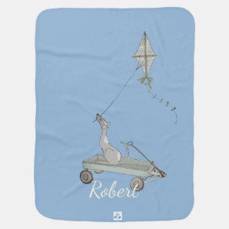 Perro azul airoso con el carro y la cometa mantita para bebé