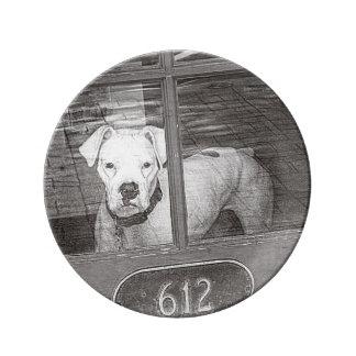 Perro blanco del boxeador detrás de la puerta, plato de cerámica
