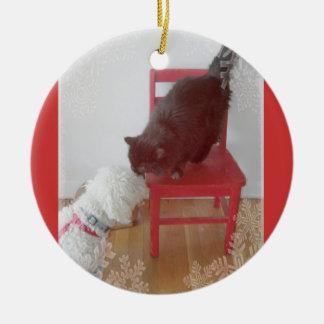 Perro blanco, silla del rojo del día de fiesta del ornamente de reyes