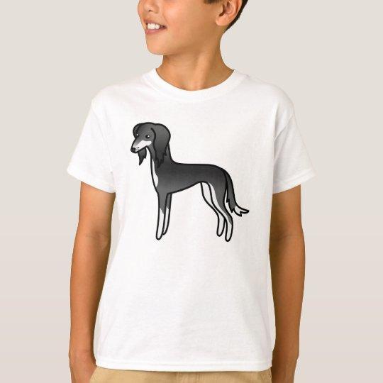 Perro blanco y negro del dibujo animado de Saluki Camiseta
