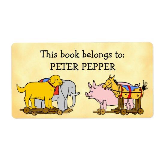 Perro, caballo y cerdo de encargo de juguete del etiquetas de envío