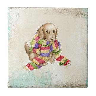 Perro canino nacional lindo con una bufanda azulejo cuadrado pequeño