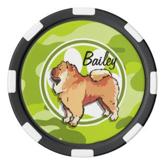 Perro chino de perro chino; camo verde claro, juego de fichas de póquer