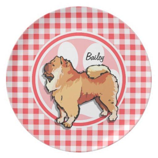 Perro chino de perro chino; Guinga roja y blanca Plato De Comida
